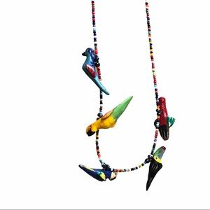 Bird parrot tropical necklace bead colorful carved